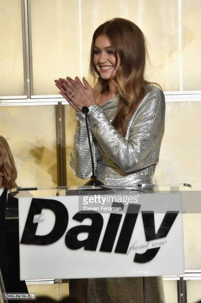 Gigi Hadid speaks onstage at Daily Front Row's Fashion Media Awards presented by ZadigVoltaire Sunglass Hut Moroccan Oil LIM Fiji on September 6 2018...