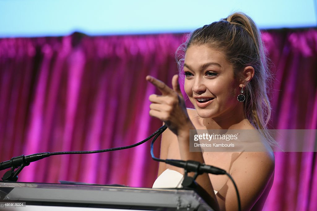 Gigi Hadid speaks onstage during the Global Lyme Alliance 'Uniting for a Lyme-Free World' Inaugural Gala at Cipriani 42nd Street on October 8, 2015 in New York City.