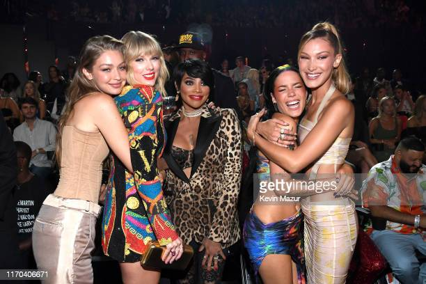 "Gigi Hadid, Taylor Swift, Sandra ""Pepa"" Denton, Halsey and Bella Hadid attend the 2019 MTV Video Music Awards at Prudential Center on August 26, 2019..."