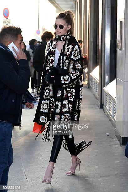 Gigi Hadid visits 'Le Bon Marche' departement store on January 20 2016 in Paris France