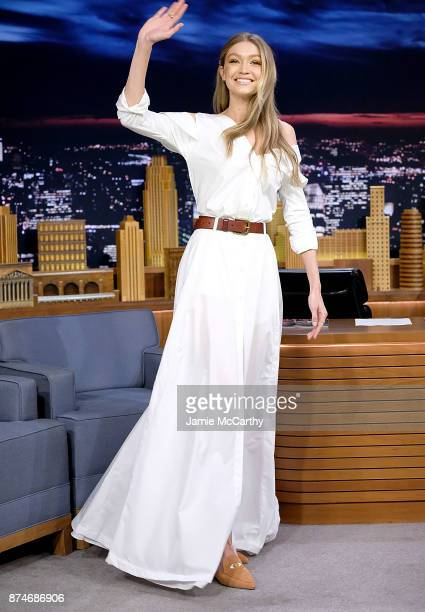 Gigi Hadid visits The Tonight Show Starring Jimmy Fallon at Rockefeller Center on November 15 2017 in New York City