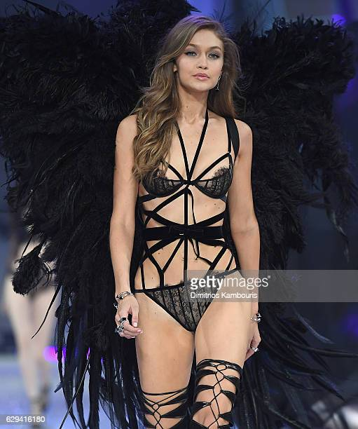 Gigi Hadid walks during the 2016 Victoria's Secret Fashion Show on November 30 2016 in Paris France