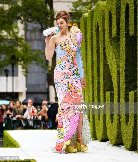 Gigi Hadid walks Moschino fashion show on September 09, 2021 in New York City.