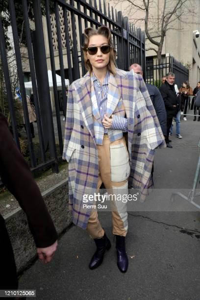Gigi Hadid walks out of the Miu Miu show as part of the Paris Fashion Week Womenswear Fall/Winter 2020/2021 on March 03 2020 in Paris France