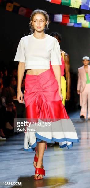 Gigi Hadid walks runway for the Prabal Gurung Spring/Summer 2019 runway show during New York Fashion Week at Spring Studios Manhattan