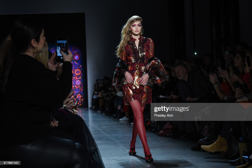 Gigi Hadid walks the runway at Anna Sui - Runway - February 2018 - New York Fashion Week: at Spring Studios on February 12, 2018 in New York City.