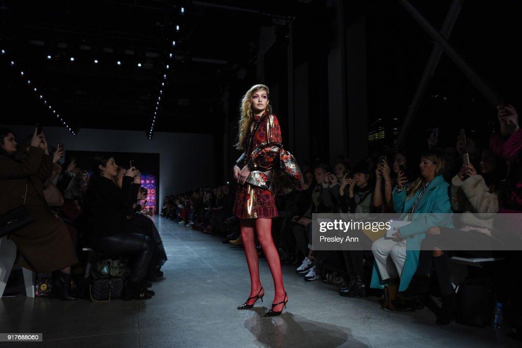 Gigi Hadid walks the runway at Anna Sui - Runway - February 2018 - New York Fashion Week: at Spring Studios on February 12, 2018 in New York City.