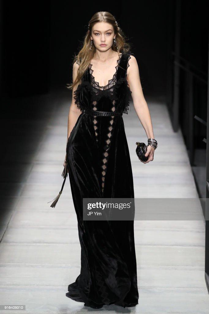 Gigi Hadid walks the runway at Bottega Veneta Fall/Winter 2018 Collection at the American Stock Exchange on February 9, 2018 in New York City.