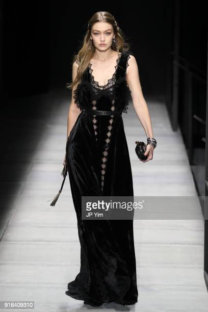 Gigi Hadid walks the runway at Bottega Veneta Fall/Winter 2018 Collection at the American Stock Exchange on February 9 2018 in New York City