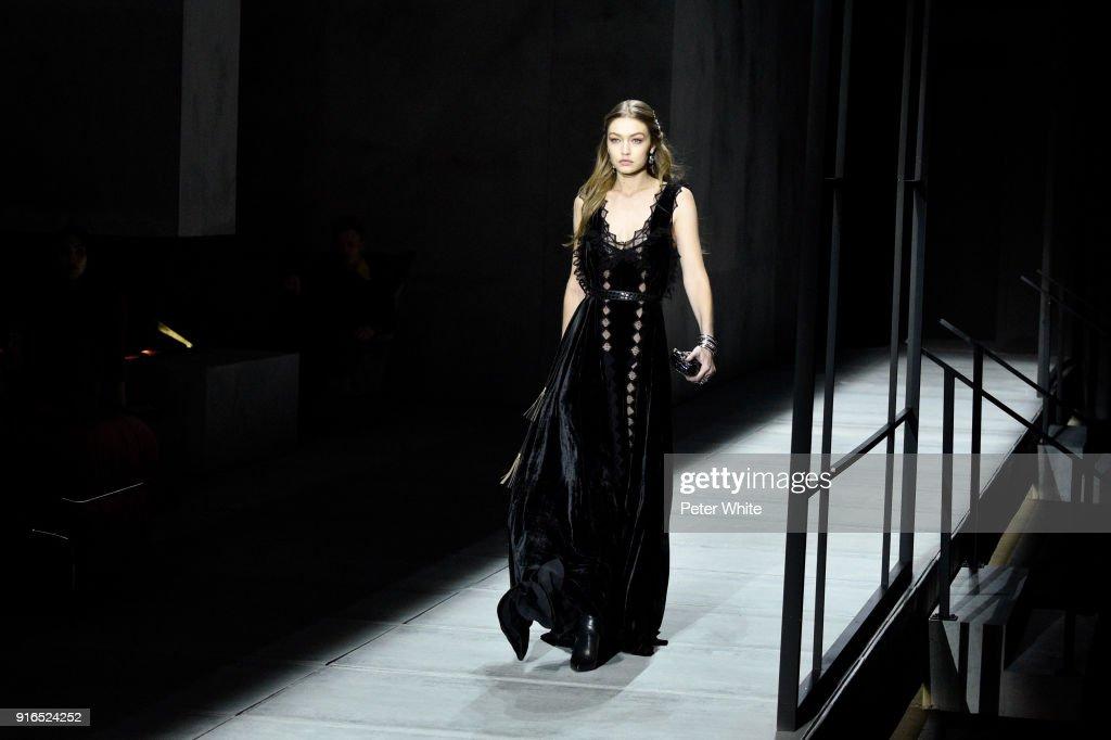 Gigi Hadid walks the runway at Bottega Veneta Fashion Show during New York Fashion Week at The New York Stock Exchange on February 9, 2018 in New York City.