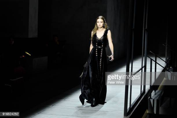 Gigi Hadid walks the runway at Bottega Veneta Fashion Show during New York Fashion Week at The New York Stock Exchange on February 9 2018 in New York...