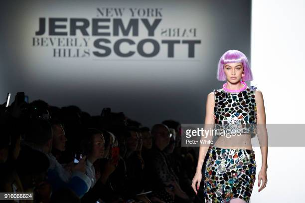 Gigi Hadid walks the runway at Jeremy Scott Show Fall 2018 during New York Fashion Week The Shows at Gallery I at Spring Studios on February 8 2018...