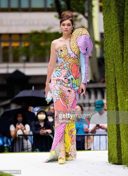 Gigi Hadid walks the runway at Moschino show on September 09, 2021 in New York City.