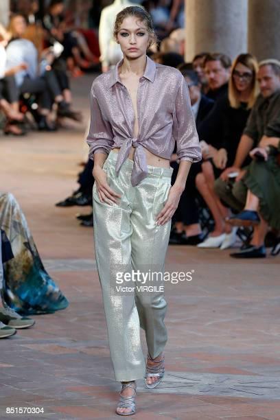 Gigi Hadid walks the runway at the Alberta Ferretti Ready to Wear Spring/Summer 2018 fashion show during Milan Fashion Week Spring/Summer 2018 on...
