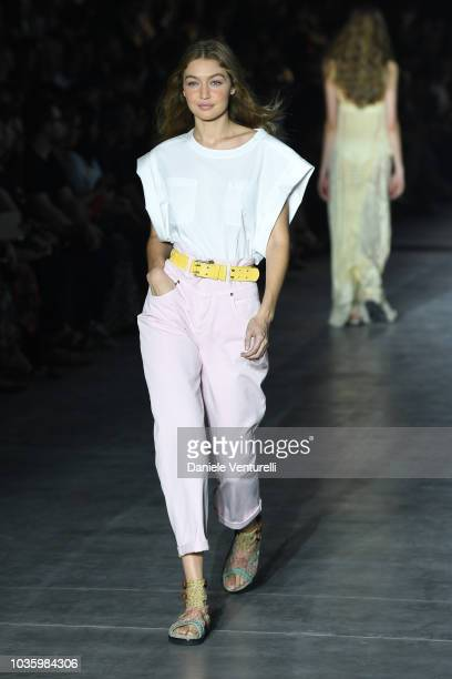 Gigi Hadid walks the runway at the Alberta Ferretti show during Milan Fashion Week Spring/Summer 2019 on September 19 2018 in Milan Italy