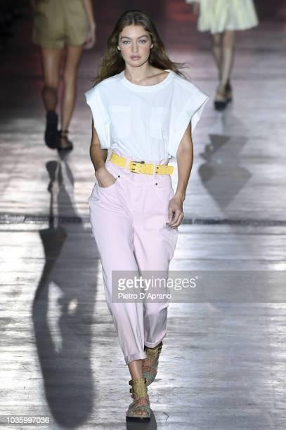 Gigi Hadid walks the runway at the Alberta Ferretti show during Milan Fashion Week Spring/Summer 2019 on September 19 2018 in Milan Italy