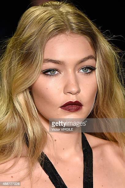 Gigi Hadid walks the runway at the Anna Sui Spring Summer 2016 fashion show during the New York Fashion Week on September 16 2015 in New York City