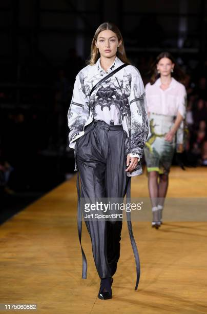 Gigi Hadid walks the runway at the Burberry show during London Fashion Week September 2019 at Troubadour White City Theatre on September 16, 2019 in...