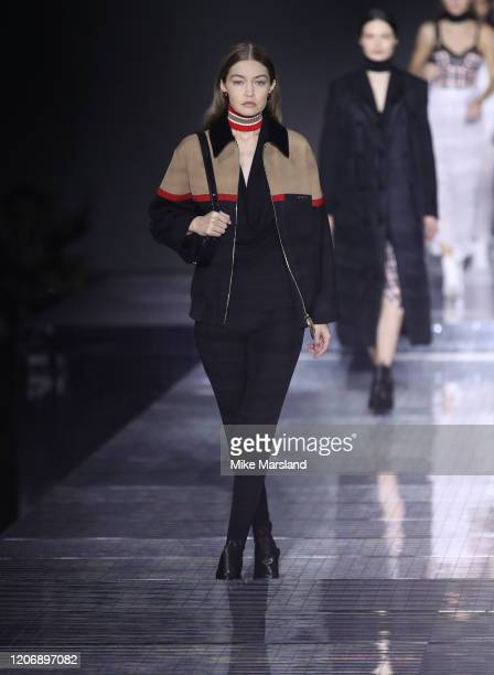 Gigi Hadid walks the runway at the Burberry show during London Fashion Week February 2020 on February 17 2020 in London England