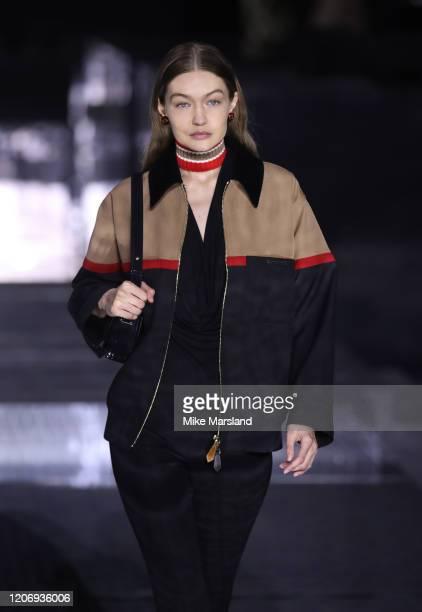 Gigi Hadid walks the runway at the Burberry show during London Fashion Week February 2020 on February 17, 2020 in London, England.