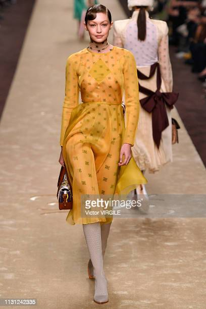 Gigi Hadid walks the runway at the Fendi Ready to Wear Fall/Winter 20192020 fashion show at Milan Fashion Week Autumn/Winter 2019/20 on February 21...