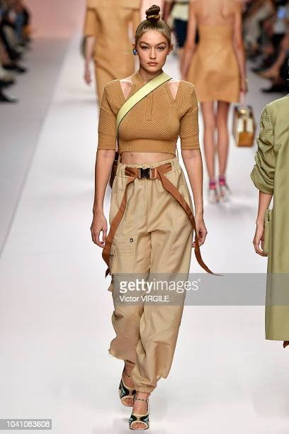 Gigi Hadid walks the runway at the Fendi Ready to Wear fashion show during Milan Fashion Week Spring/Summer 2019 on September 20 2018 in Milan Italy
