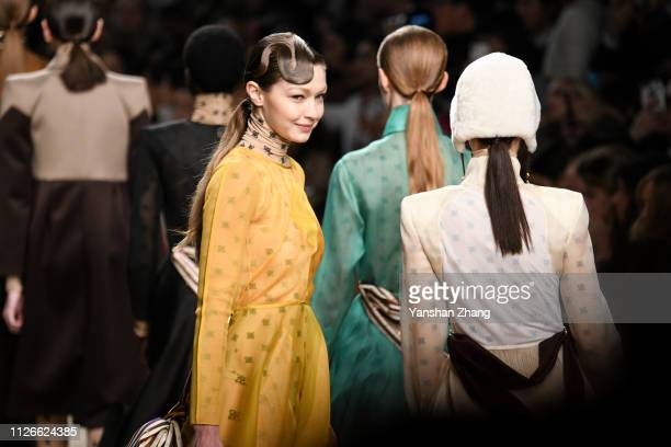 Gigi Hadid walks the runway at the Fendi show at Milan Fashion Week Autumn/Winter 2019/20 on February 21 2019 in Milan Italy