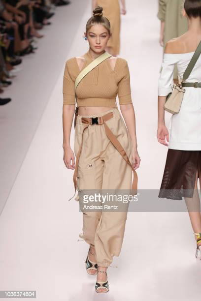 Gigi Hadid walks the runway at the Fendi show during Milan Fashion Week Spring/Summer 2019 on September 20 2018 in Milan Italy
