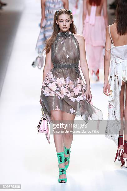 Gigi Hadid walks the runway at the Fendi show during Milan Fashion Week Spring/Summer 2017 on September 22 2016 in Milan Italy