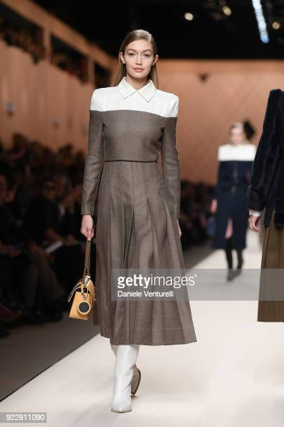 Gigi Hadid walks the runway at the Fendi show during Milan Fashion Week Fall/Winter 2018/19 on February 22 2018 in Milan Italy