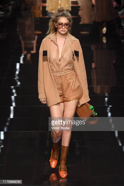 Gigi Hadid walks the runway at the Fendi show during the Milan Fashion Week Spring/Summer 2020 on September 19, 2019 in Milan, Italy.