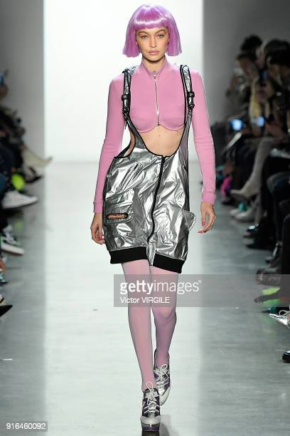Gigi Hadid walks the runway at the Jeremy Scott Ready to Wear Fall/Winter 2018-2019 during New York Fashion Week at Gallery I at Spring Studios on...