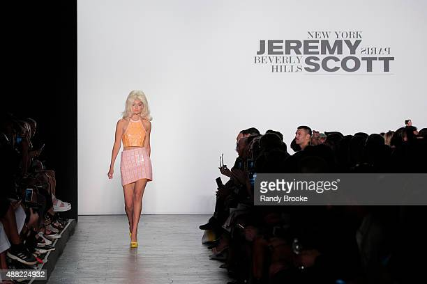 Gigi Hadid walks the runway at the Jeremy Scott Runway Spring 2016 New York Fashion Week: The Shows at The Arc, Skylight at Moynihan Station on...