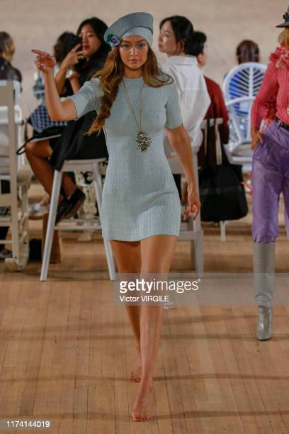 Gigi Hadid walks the runway at the Marc Jacobs Ready to Wear Spring/Summer 2020 fashion show during New York Fashion Week on September 11, 2019 in...