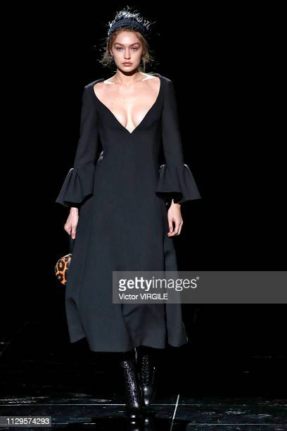 Gigi Hadid walks the runway at the Marc Jacobs Ready to Wear Fall/Winter 20192020 fashion show during New York Fashion Week on February 13 2019 in...