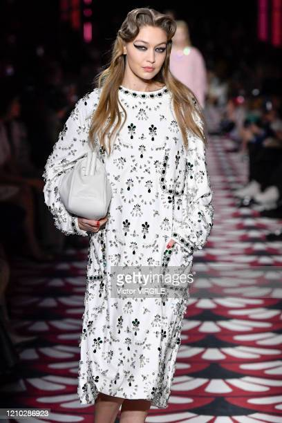 Gigi Hadid walks the runway at the Miu Miu Ready to Wear fashion show as part of the Paris Fashion Week Womenswear Fall/Winter 20202021 on March 03...