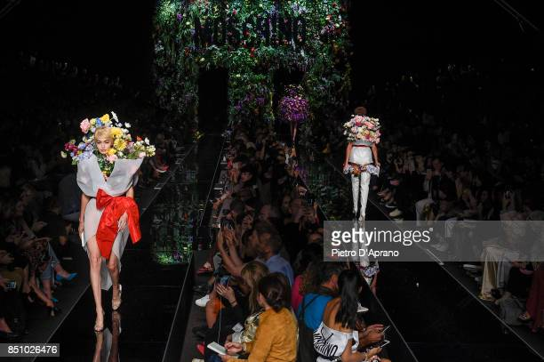 Gigi Hadid walks the runway at the Moschino show during Milan Fashion Week Spring/Summer 2018 on September 21 2017 in Milan Italy