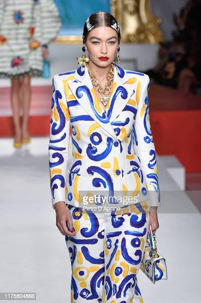 Gigi Hadid walks the runway at the Moschino show during the Milan Fashion Week Spring/Summer 2020 on September 19 2019 in Milan Italy