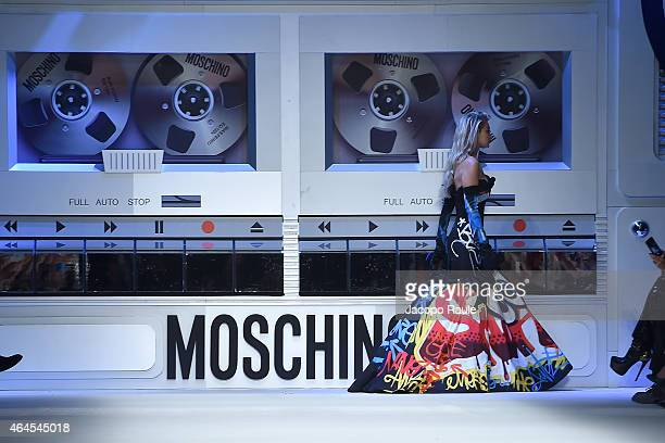 Gigi Hadid walks the runway at the Moschino show during the Milan Fashion Week Autumn/Winter 2015 on February 26 2015 in Milan Italy