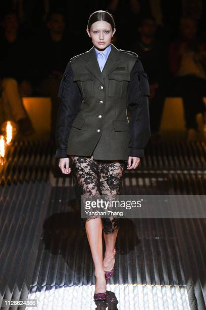 Gigi Hadid walks the runway at the Prada show at Milan Fashion Week Autumn/Winter 2019/20 on February 21 2019 in Milan Italy