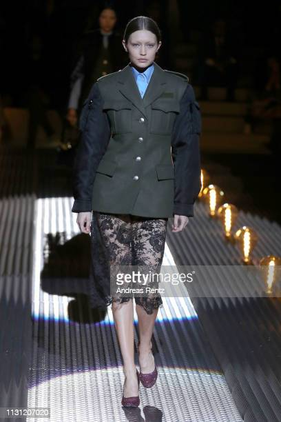 Gigi Hadid walks the runway at the Prada show at Milan Fashion Week Autumn/Winter 2019/20 on February 21, 2019 in Milan, Italy.