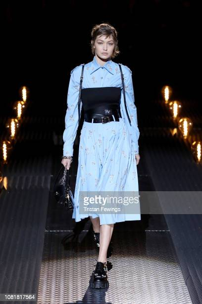 Gigi Hadid walks the runway at the Prada show during Milan Menswear Fashion Week Autumn/Winter 2019/20 on January 13 2019 in Milan Italy