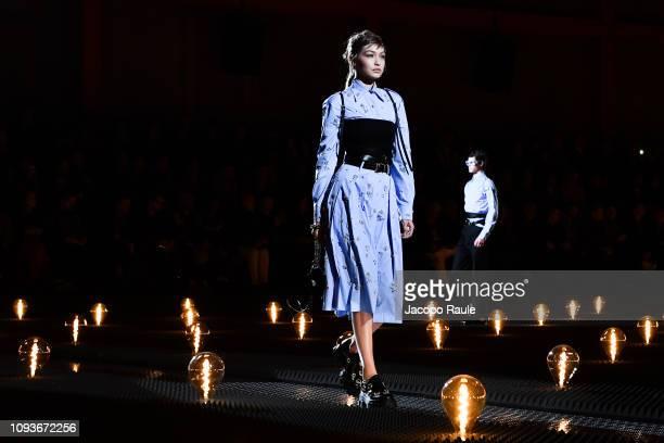 Gigi Hadid walks the runway at the Prada show during Milan Menswear Fashion Week Autumn/Winter 2019/20 on January 13 2019 in Milan Italy