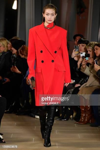 Gigi Hadid walks the runway at the Proenza Schouler Ready to Wear Fall/Winter 2020-2021 fashion show during New York Fashion Week on February 10,...