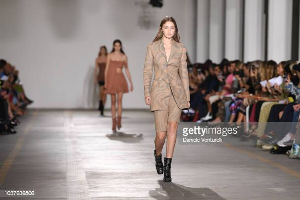 Joan Smalls walks the runway at the Roberto Cavalli show during Milan Fashion Week Spring/Summer 2019 on September 22 2018 in Milan Italy