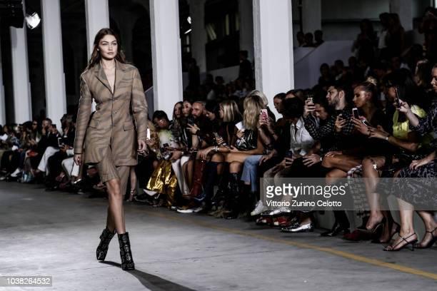 Gigi Hadid walks the runway at the Roberto Cavalli show during Milan Fashion Week Spring/Summer 2019 on September 22 2018 in Milan Italy