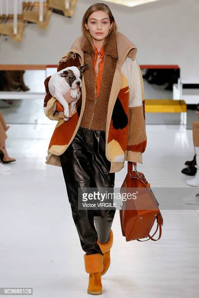Gigi Hadid walks the runway at the Tod's Ready to Wear Fall/Winter 20182019 fashion show during Milan Fashion Week Fall/Winter 2018/19 on February 23...