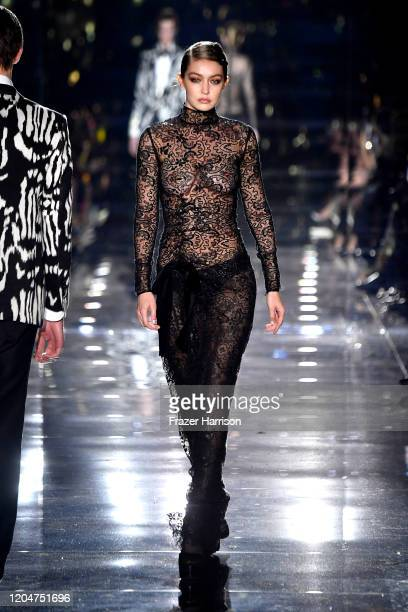 Gigi Hadid walks the runway at the Tom Ford AW20 Show at Milk Studios on February 07, 2020 in Hollywood, California.