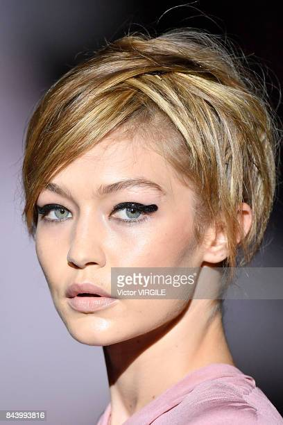 Gigi Hadid walks the runway at the Tom Ford Spring/Summer 2018 Runway Show during New York Fashion Week at the Park Avenue Armory on September 6 2017...