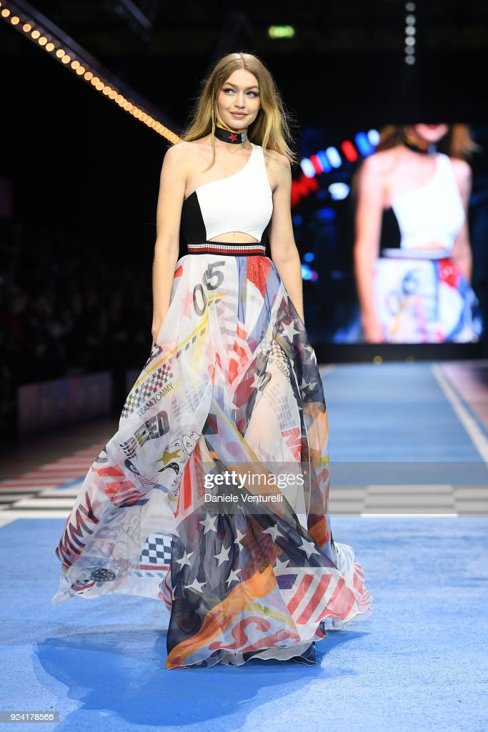 Gigi Hadid walks the runway at the Tommy Hilfiger show during Milan Fashion Week Fall/Winter 2018/19 on February 25, 2018 in Milan, Italy.